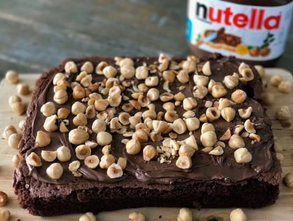 Brownie met Nutella en hazelnoten