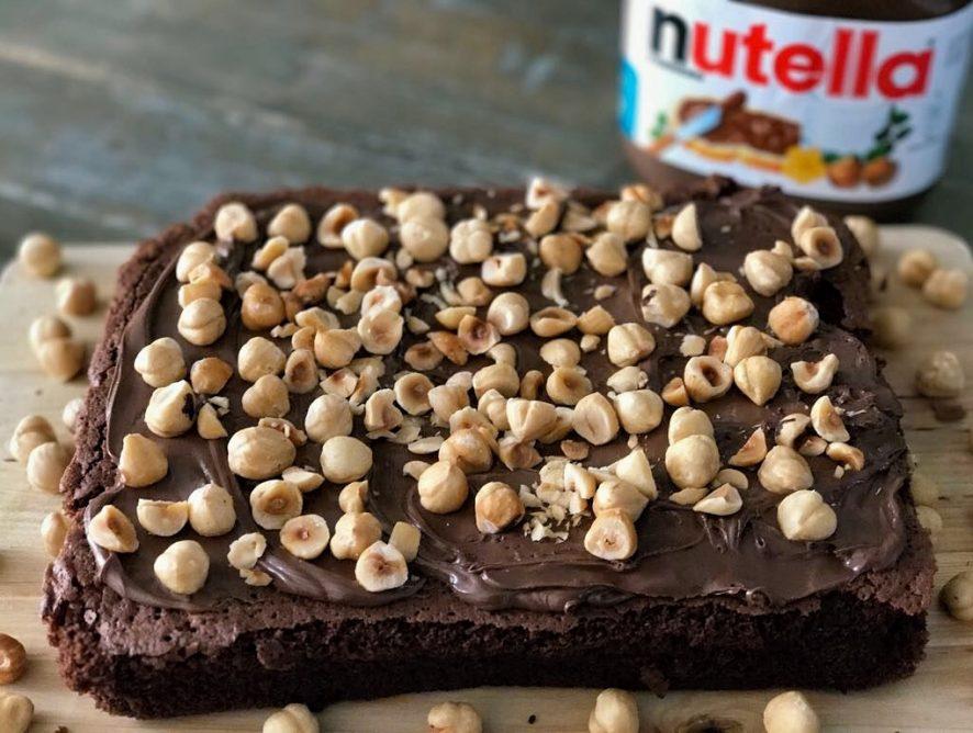 Brownie met Nutella en hazelnoten