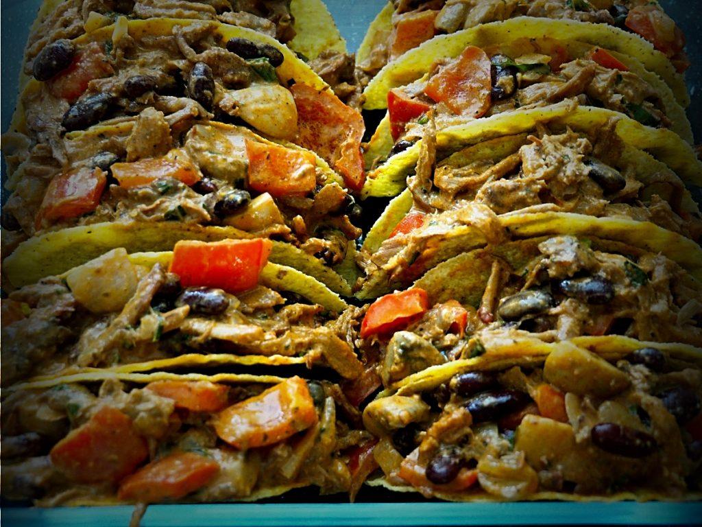 taco's gevuld met pulled pork
