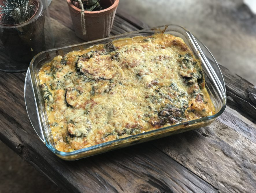 Groentelasagne met spinazie en aubergine