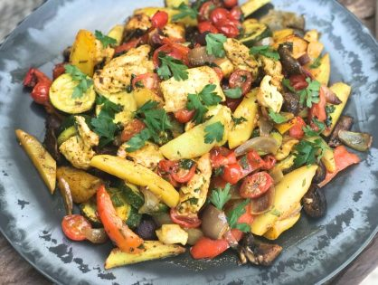 geroosterde groenten met aardappelen