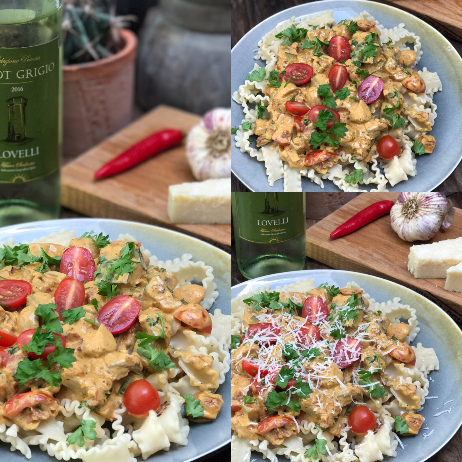Pasta roomsaus met courgette, champignons en spek - Familie over de kook