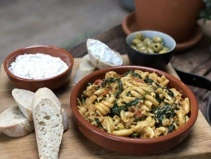 pasta met tonijn en spinazie