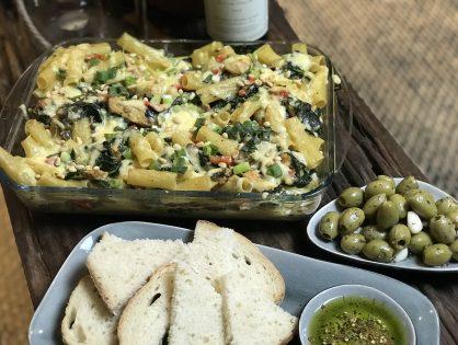 pasta ovenschotel met spinazie en kip
