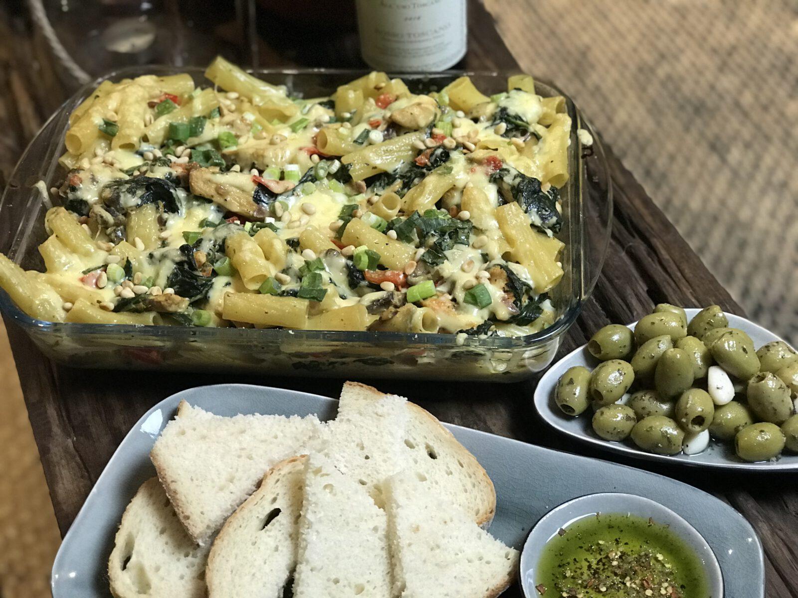 pasta ovenschotel met spinazie en kip - Familie over de kook