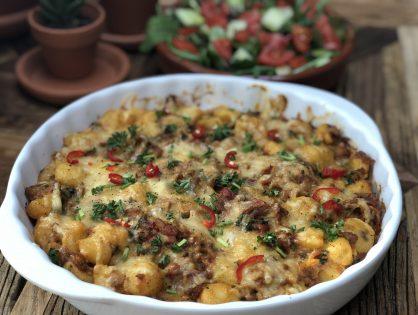 krieltjes ovenschotel met spek, ui en kaas