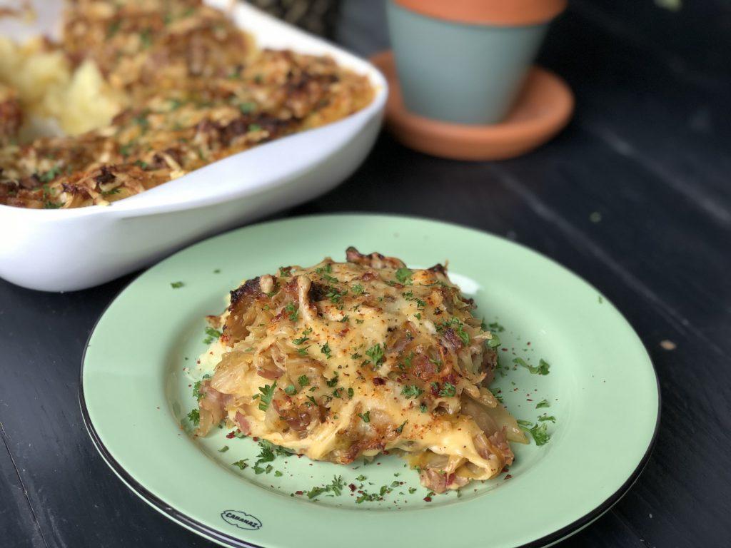 recept spitskool ovenschotel met spek en kaas