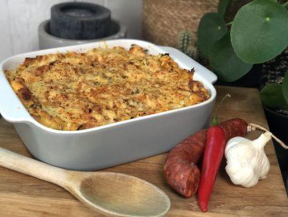 Ovenschotel met prei en aardappelpuree