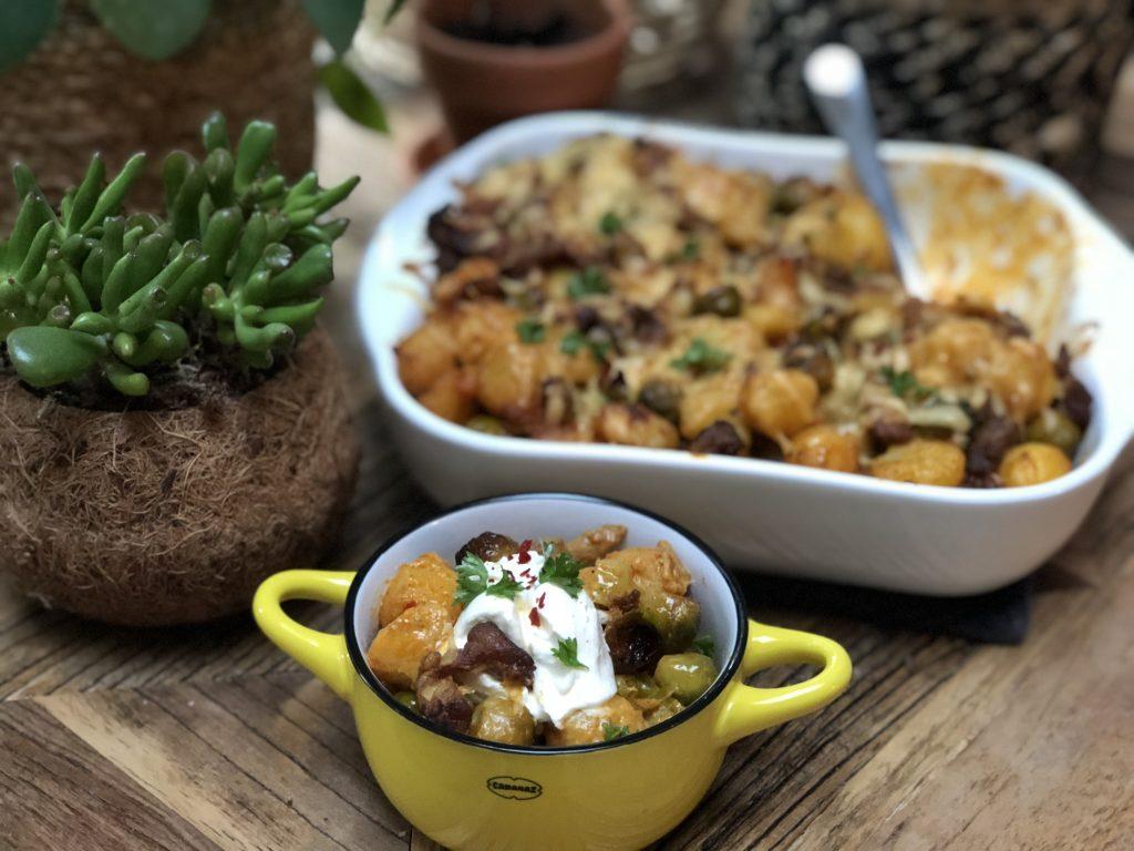 recept krieltjes ovenschotel met spruitjes en shoarma