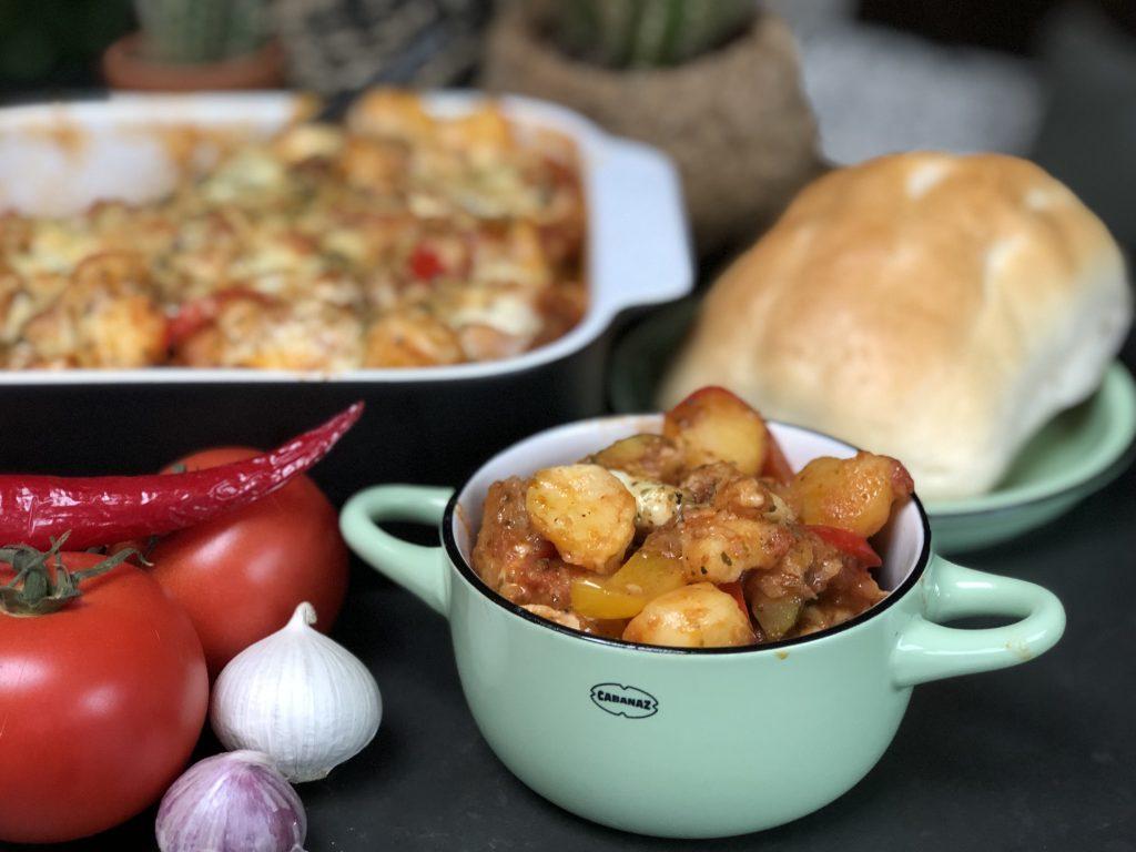 recept Italiaanse krieltjes ovenschotel met groenten en chipolata worstjes
