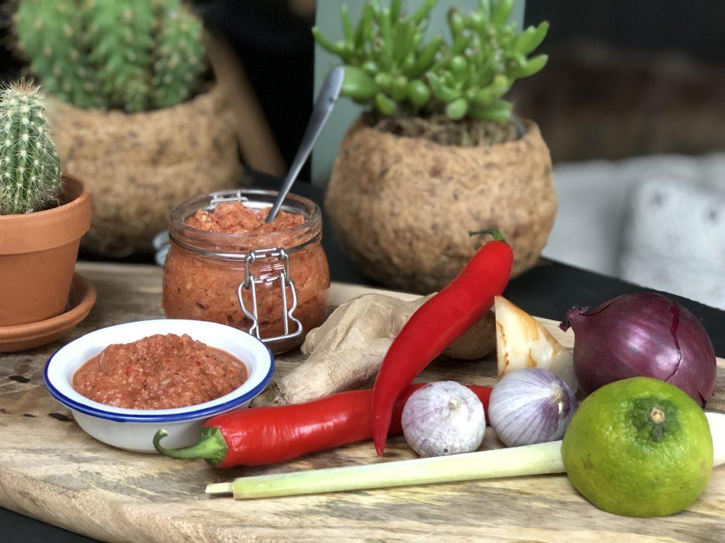recept zelf een Thaise rode currypasta maken met rode peper, knoflook en diverse kruiden.