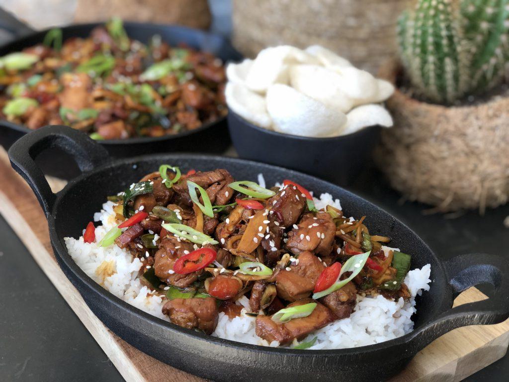 recept pittige kip ketjap met groenten en rijst