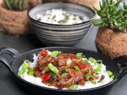 Thaise biefstuk met roerbakgroenten en rijst