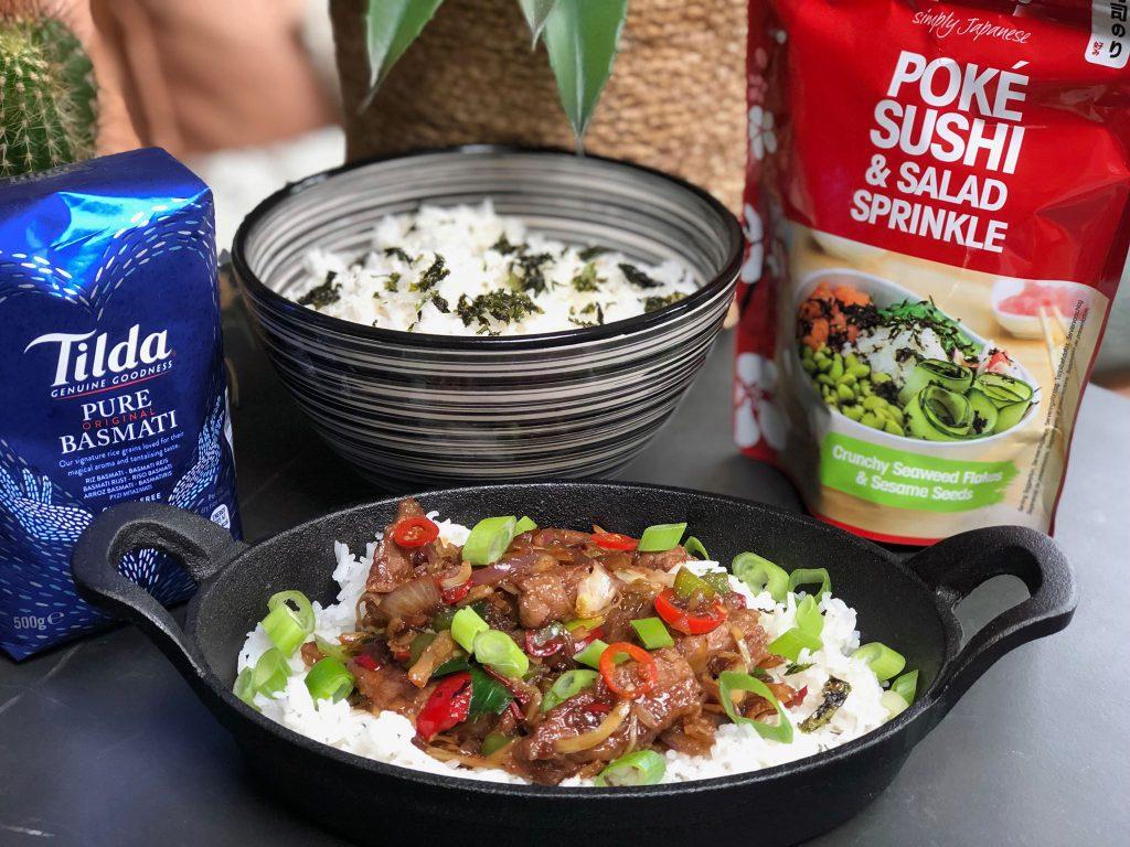 recept Thaise biefstuk met rijst en Thaise roerbakgroenten