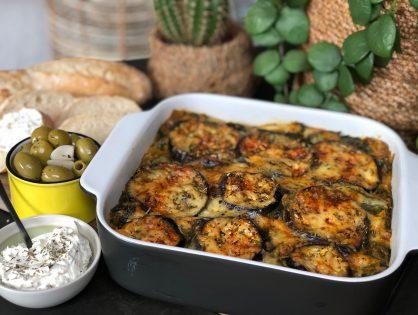vegetarische lasagne met aubergine en spinazie