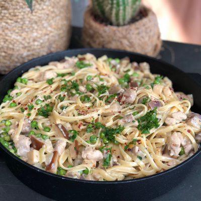 pasta met romige kip en groente