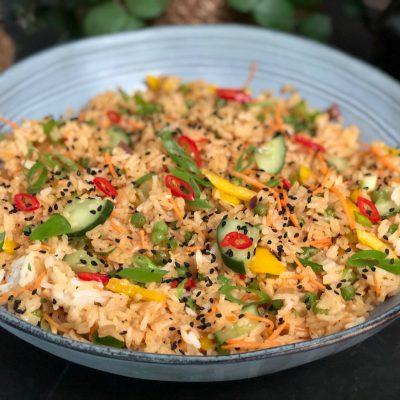 rijstsalade met groente
