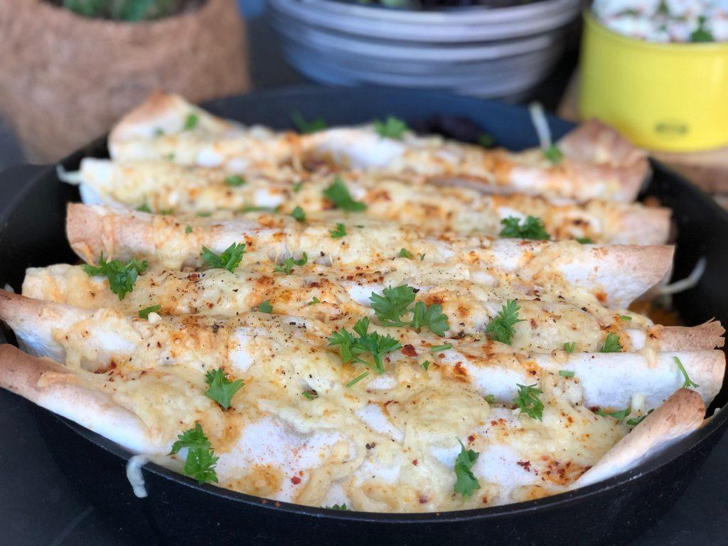recept shoarma wraps met kaas gebakken in de oven