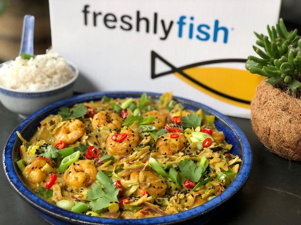 Thaise garnalen in kerriesaus uit de Freshly Fish Box