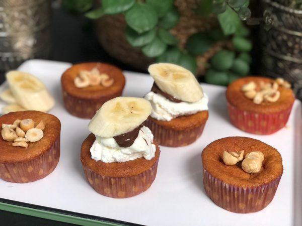 recept bananen cupcakes met Nutella, roomijs en banaan