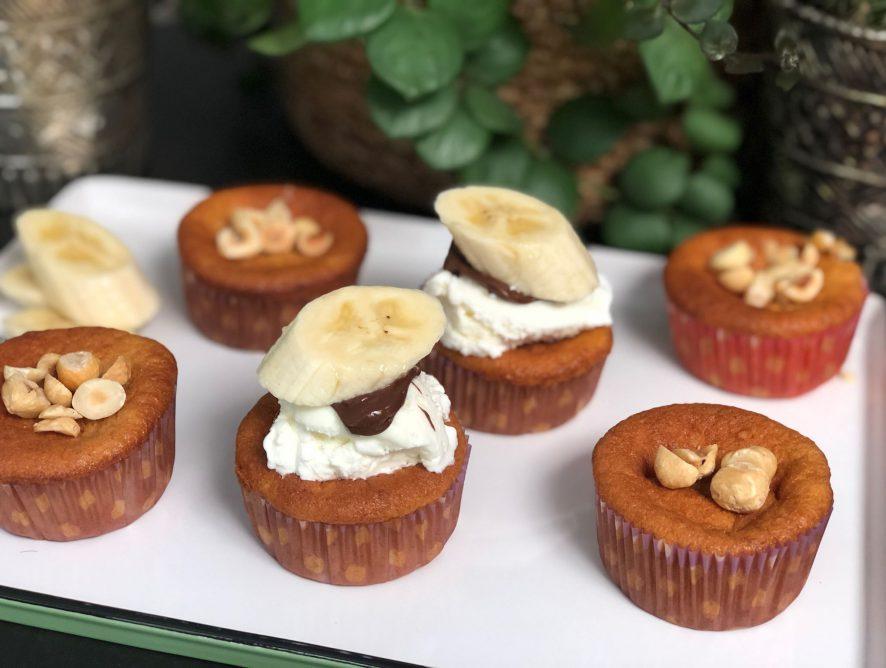 bananen cupcakes met Nutella