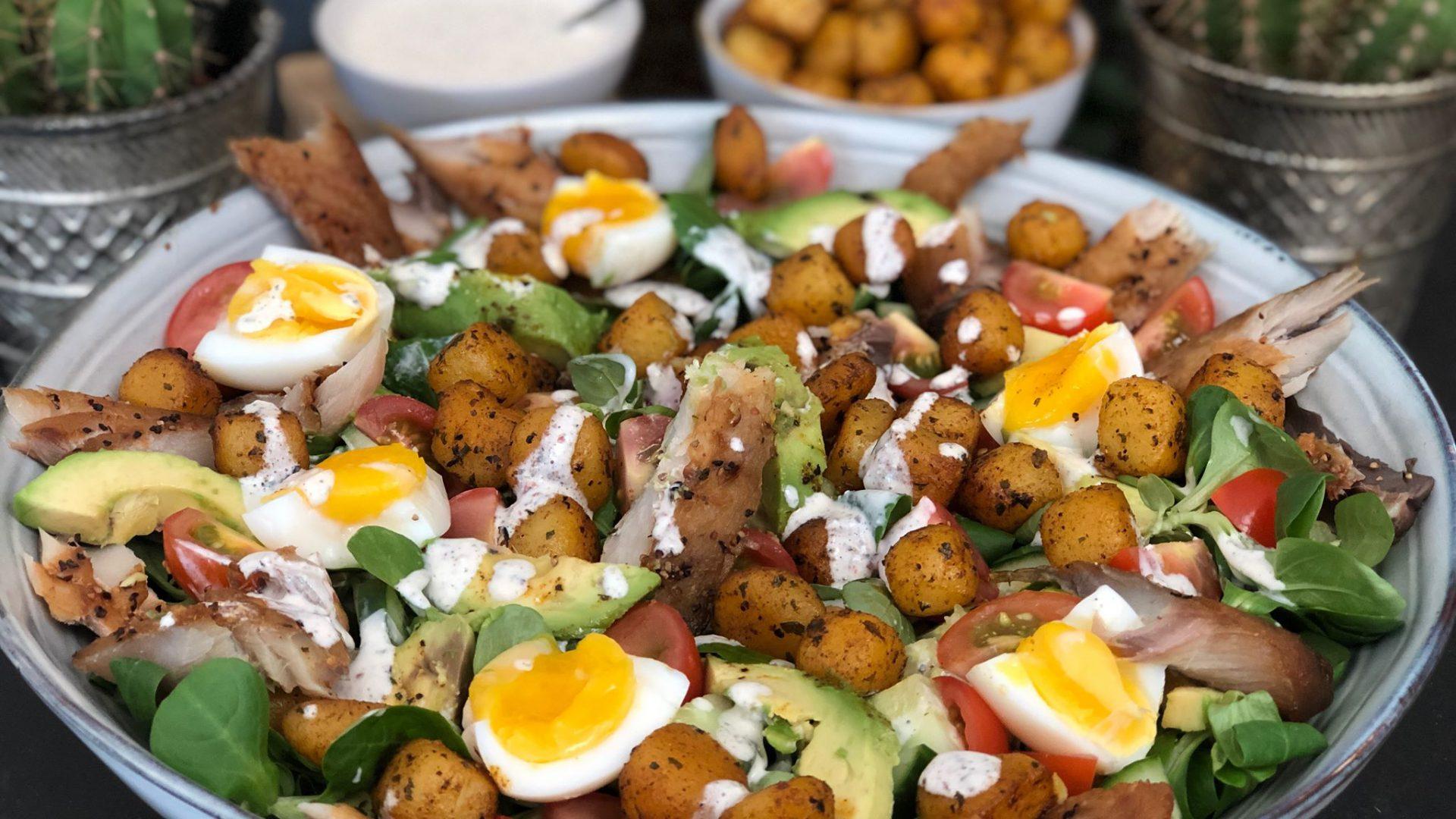 salade met makreel en krieltjes