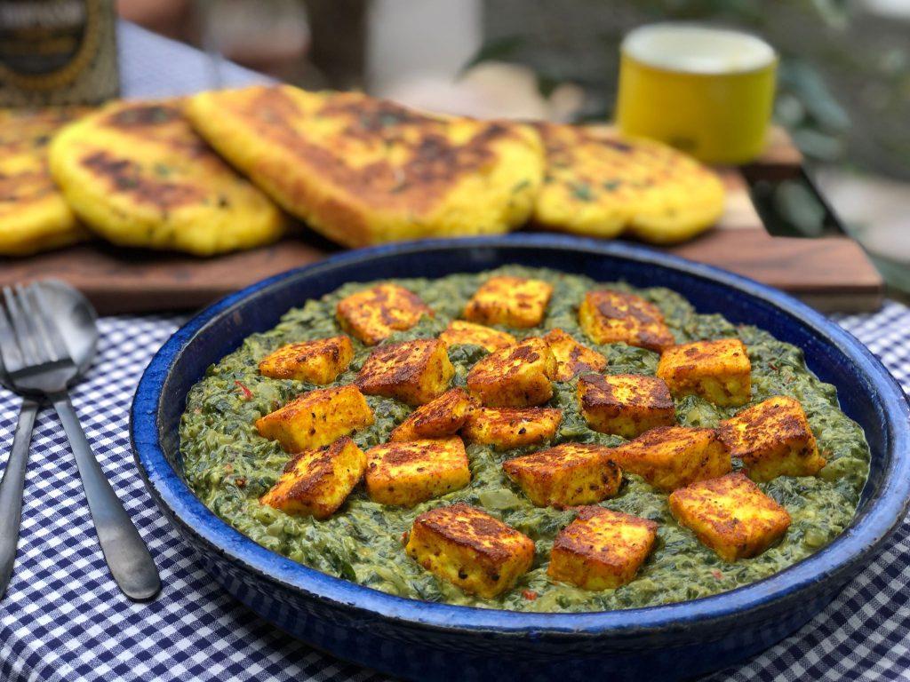 recept vegetarische saag paneer met diepvries spinazie a là crème