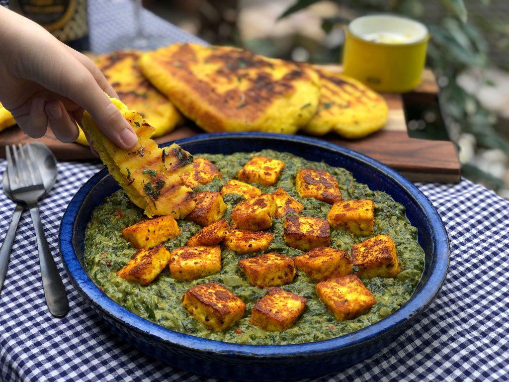 vegetarische Saag Paneer met Naan