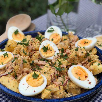 aardappelsalade met ham en ei