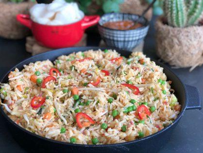 Simpele nasi met kip teriyaki