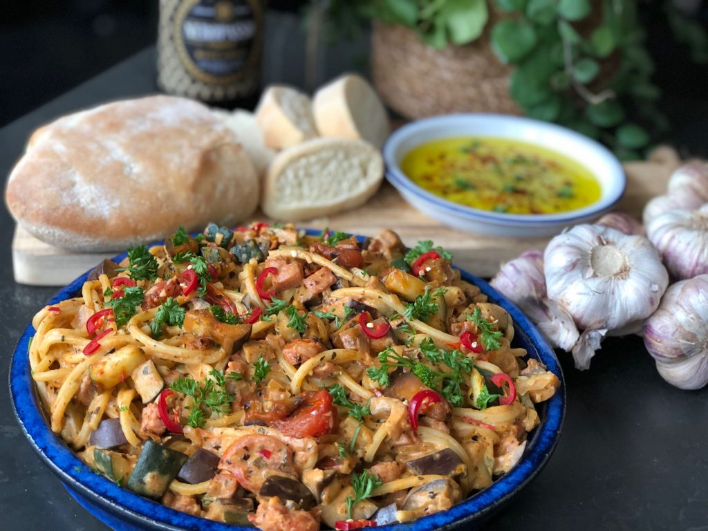 recept spaghetti met Boursin en groenten. Klaar binnen 30 minuten.