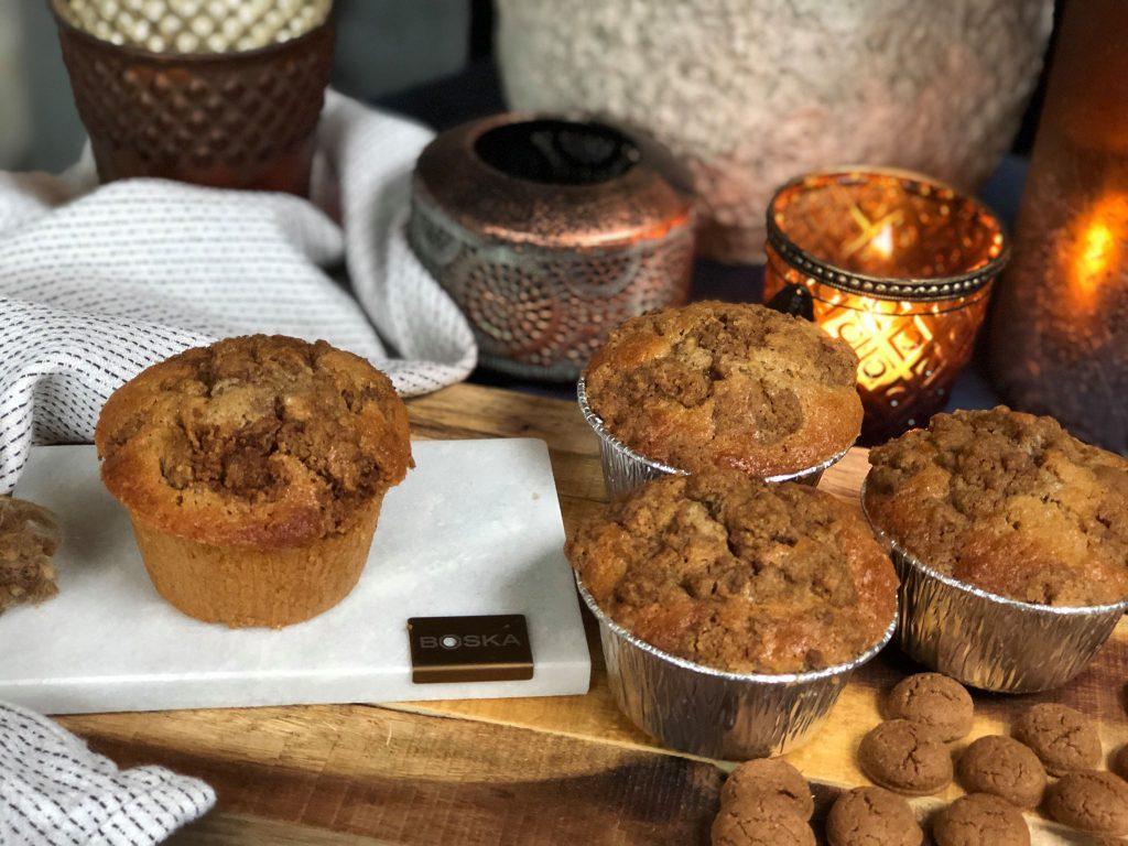 Sinterklaas muffins met kruidnoten en krokante topping van gemalen kruidnoten