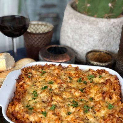 macaroni ovenschotel met tonijn in tomatensaus