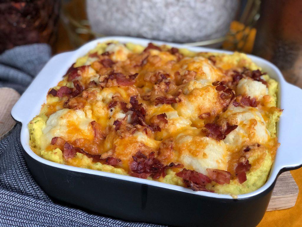 bloemkool ovenschotel met spek en kaas maken.