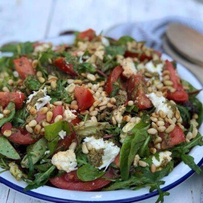salade caprese met pesto
