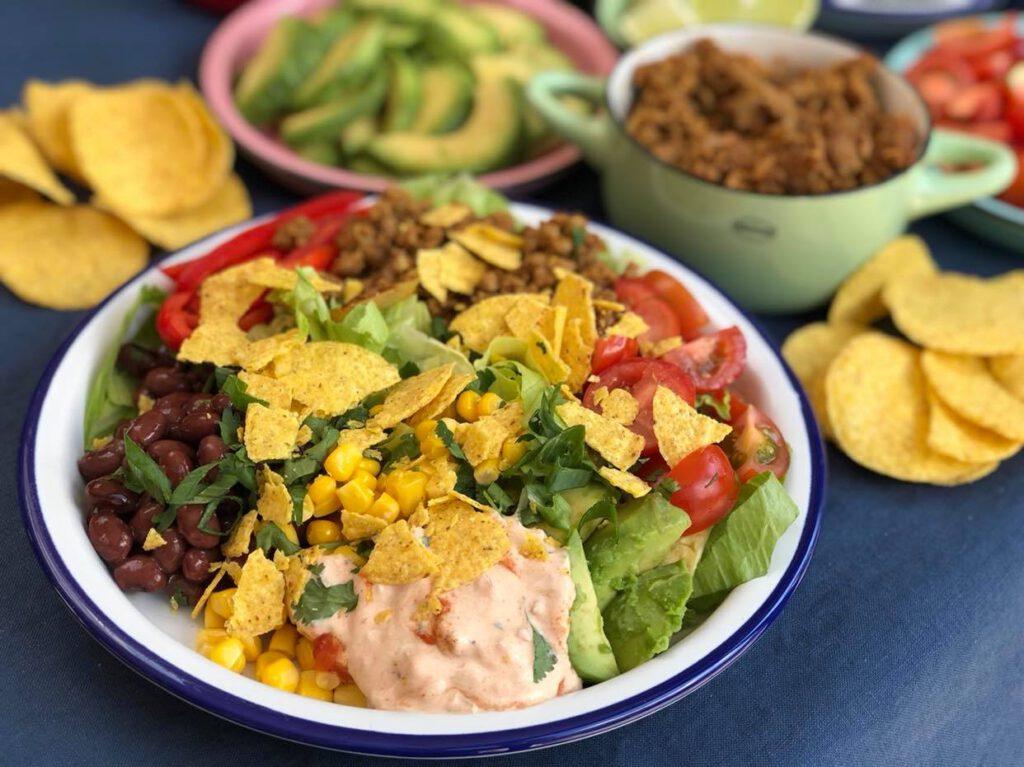 taco salade met kruidig gehakt