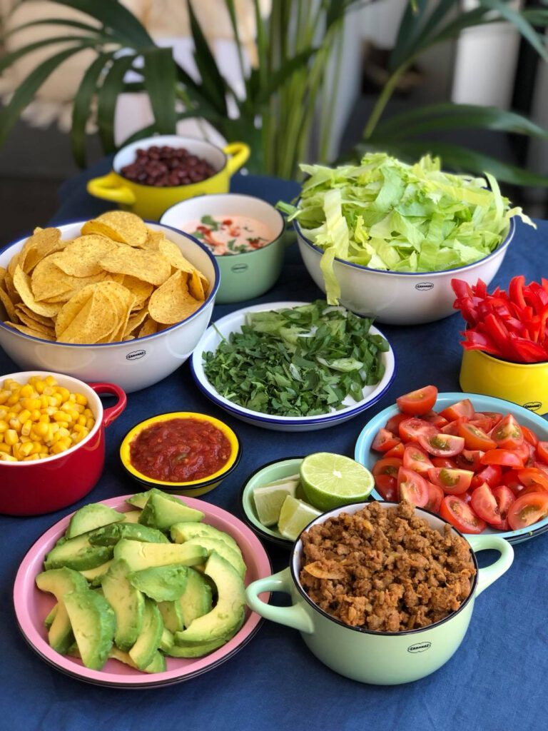 simpele Tex Mex salade met kruidig gehakt