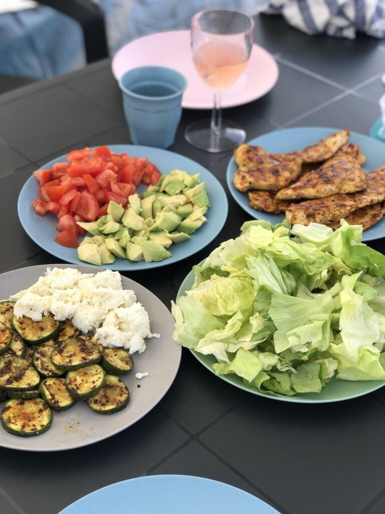 salade eten op de camping