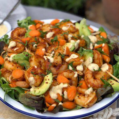 salade met honing knoflook gamba's