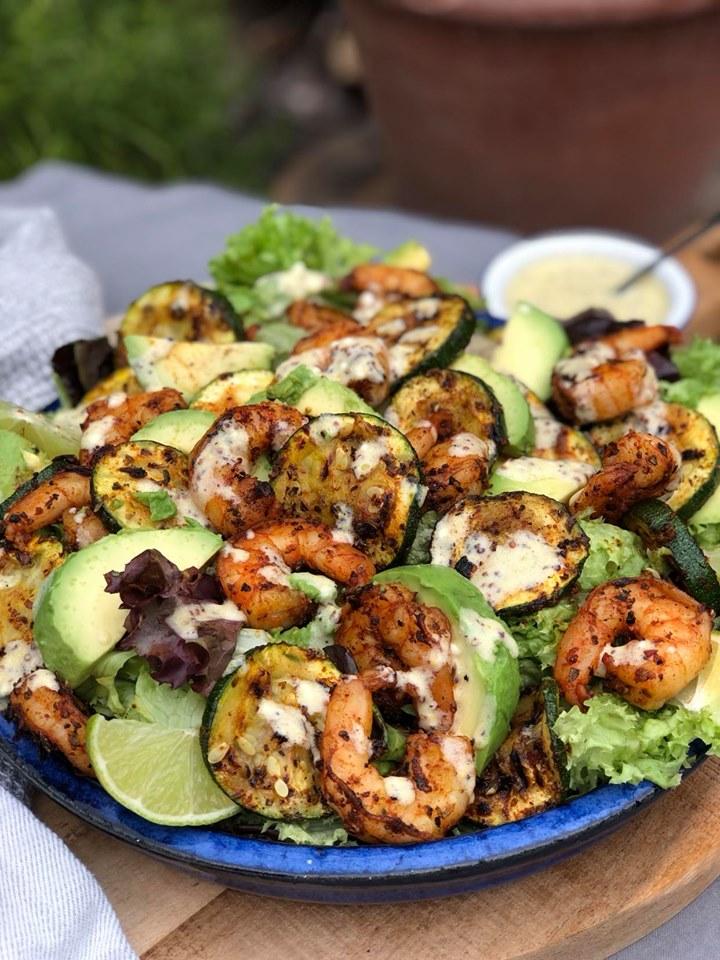 salade met gamba's en courgette