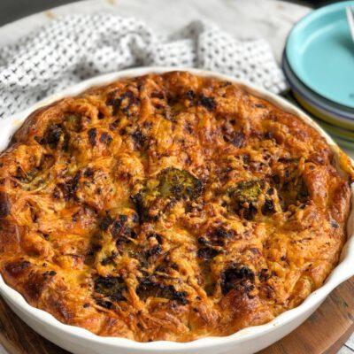 hartige taart met broccoli en kruidig gehakt