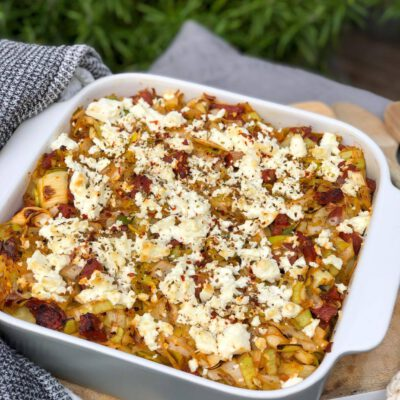 aardappelpuree ovenschotel met prei, chorizo en feta