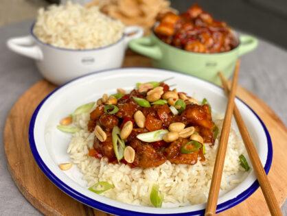 Aziatische kip met kruidige rijst