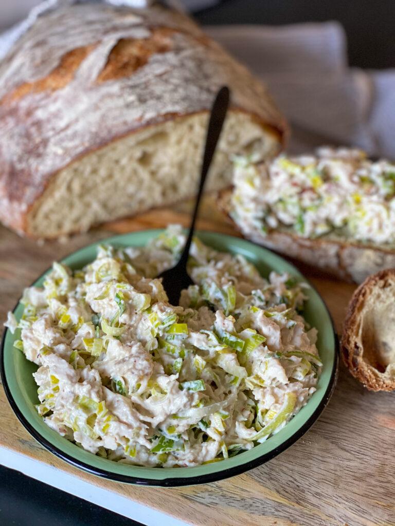 kip - prei salade maken