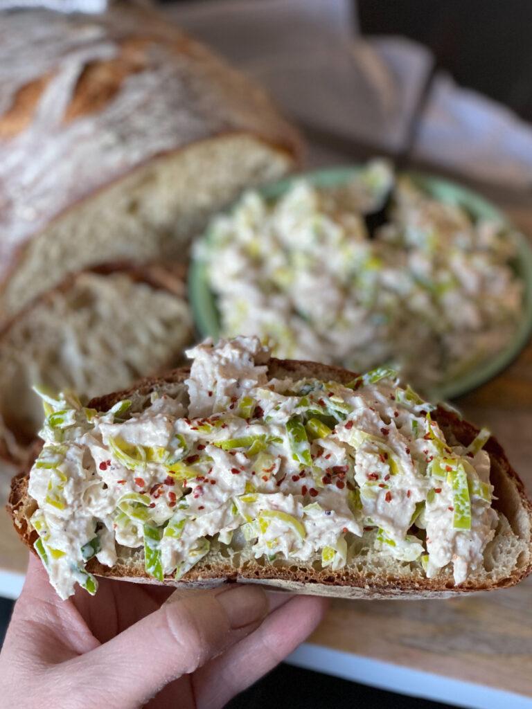 zelfgemaakte kip prei salade