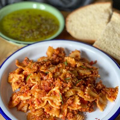 pasta met verse worst en venkel