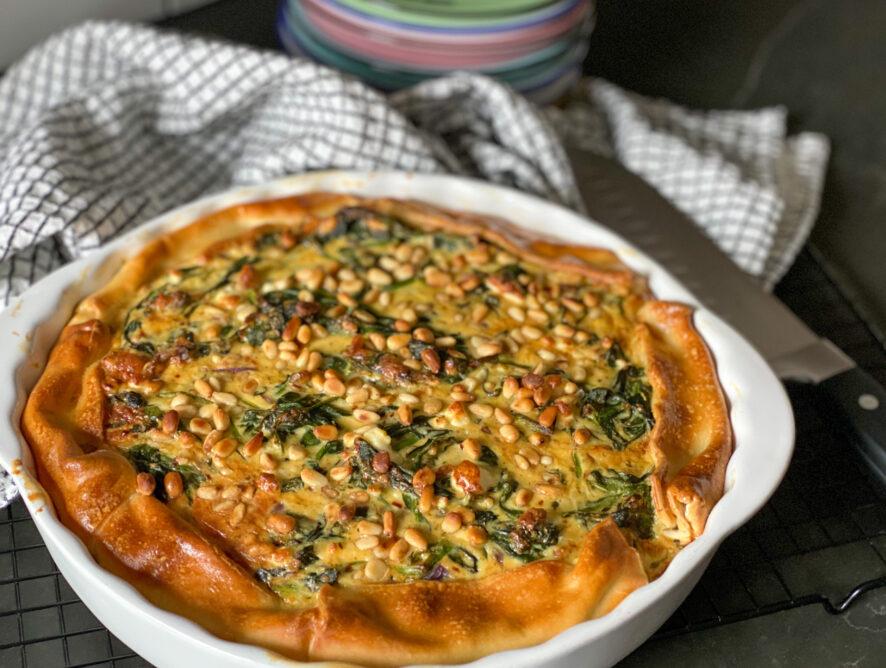 vegetarische quiche met spinazie en feta