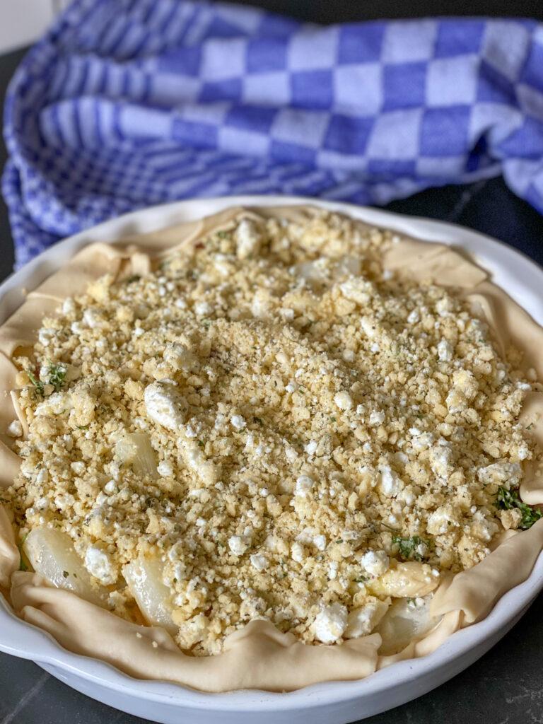 witte asperge quiche met chorizo en feta