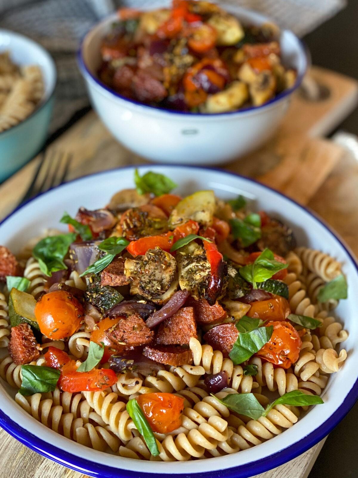 pasta met geroosterde groenten