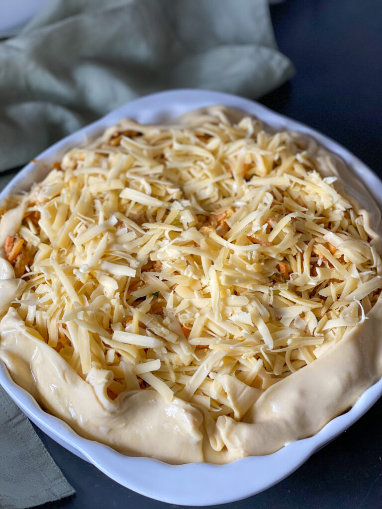 hartige taart met wokgroente en shoarma